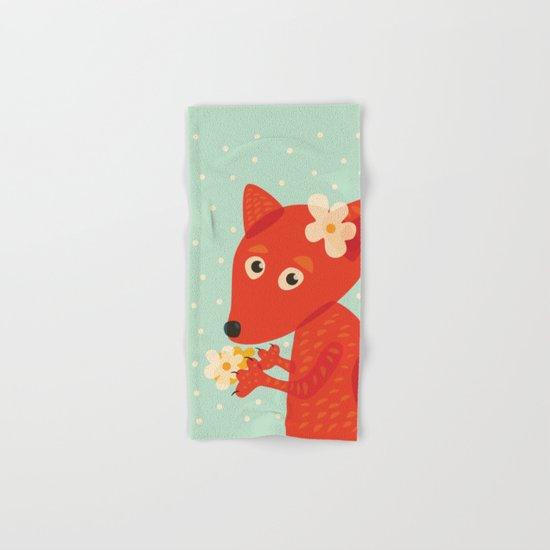 Cute Fox And Flowers Hand & Bath Towel