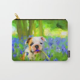Bulldog and Bluebells Carry-All Pouch