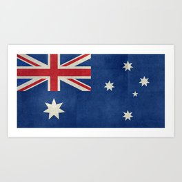 The National flag of Australia, retro textured version (authentic scale 1:2) Art Print