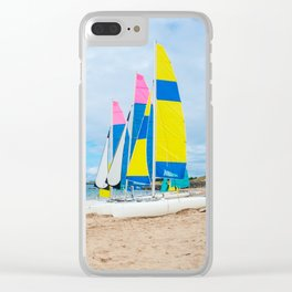sailing boats on the beach Clear iPhone Case