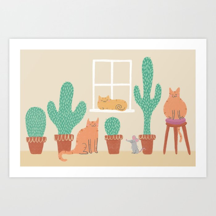 Cats Love Cacti Art Print