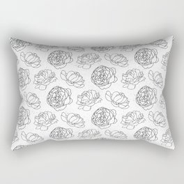 Black And White Peony Pattern Rectangular Pillow