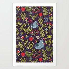 Folk birds.  Art Print