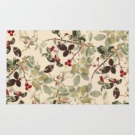 Vintage ivory red green forest berries floral Rug