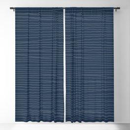 Horizontal White Stripes on Blue Blackout Curtain
