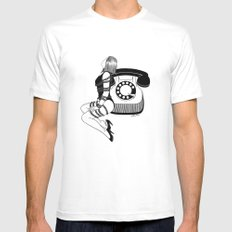 Waiting for your call MEDIUM White Mens Fitted Tee