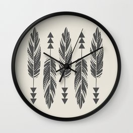 Tribal Feathers-Black & Cream Wall Clock
