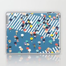 Crossing The Street On a Rainy Day - Blue Laptop & iPad Skin