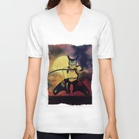 catwoman V-neck T-shirts featuring catwoman by Ancello