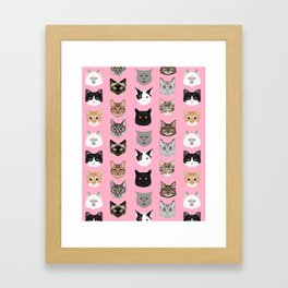 Cute Cat breed faces smiling kitten must have gifts for cat lady cat man cat lover unique pets Framed Art Print