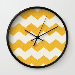 chevron - yellow Wall Clock