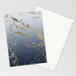 Modern grey navy blue ombre gold marble pattern Stationery Cards