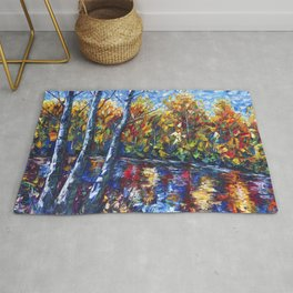 Autumn Forest with a Palette Knife Painting Rug