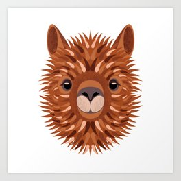 Alpaca serious portrait Art Print