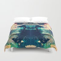 psych Duvet Covers featuring Hidden Shelter by Work the Angle