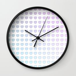 Pink Purple Gradient Tulip Flower Ombre Grid Wall Clock