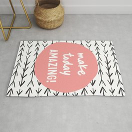 Make Today Amazing typography wall art home decor in black and peach pink Rug
