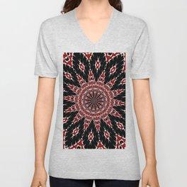 Black Red and White Bold Floral Kaleidoscope Unisex V-Neck