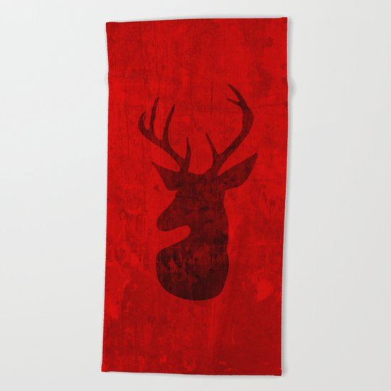 Red Deer Stag Design Beach Towel