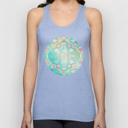 Floral Moroccan in Spring Pastels - Aqua, Pink, Mint & Peach Unisex Tank Top