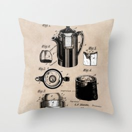 patent China Coffee pot - Blanke - 1909 Throw Pillow