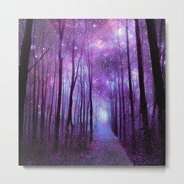 Fantasy Forest Path Purple Pink Metal Print