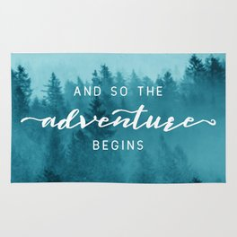 And So The Adventure Begins - Turquoise Forest Rug