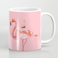 flamingo Mugs featuring Flamingo & Sea by Huebucket
