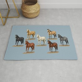 Horse Common Solid Coat Colors Chart Rug
