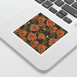 Autumnal flowering of poppies Sticker