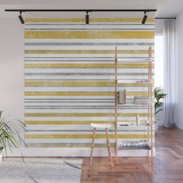 Sun Kissed Stripes: Silver and Gold Wall Mural