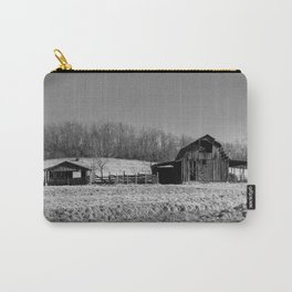 Days Gone By - Old Arkansas Barn in Black and White Carry-All Pouch