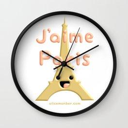J'aime Paris Cute Eiffel Tower Wall Clock