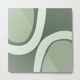 Abstract Shapes 45 in Sage Green (Rainbow Abstraction) Metal Print