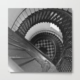 Black and white spiral stairs Metal Print
