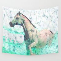 sea horse Wall Tapestries featuring horse by batik shop