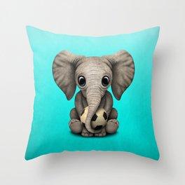 Cute Baby Elephant With Football Soccer Ball Throw Pillow