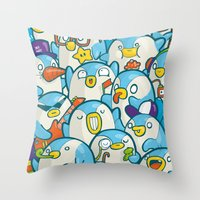 it crowd Throw Pillows featuring Penguin Crowd by Bobsmade