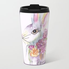 Bunny with Roses Travel Mug
