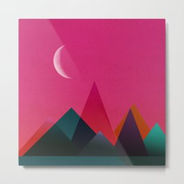 moon light geometric abstract landscape Metal Print