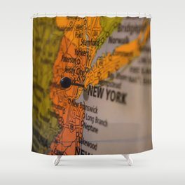 New York New Jersey Map Shower Curtain