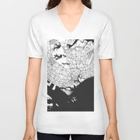 singapore V-neck T-shirts featuring Singapore Map Gray by City Art Posters