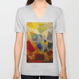 Otto Freundlich Komposition 1939 Mid Century Modern Abstract Colorful Geometric Painting Pattern Art Unisex V-Neck