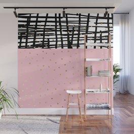 Modern geometrical black pink faux gold polka dots Wall Mural