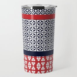 Japanese Style Ethnic Quilt Blue and Red Travel Mug