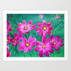 Pink wildflowers Art Print