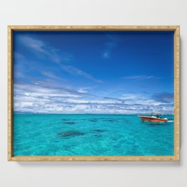 South Pacific Crystal Ocean Dreamscape with Boat Serving Tray