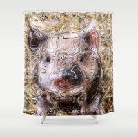 piglet Shower Curtains featuring scribbled Piglet by MehrFarbeimLeben