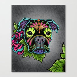 Boxer in Black - Day of the Dead Sugar Skull Dog Canvas Print