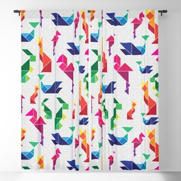 Rainbow Tangram Geomtric Animals Blackout Curtain